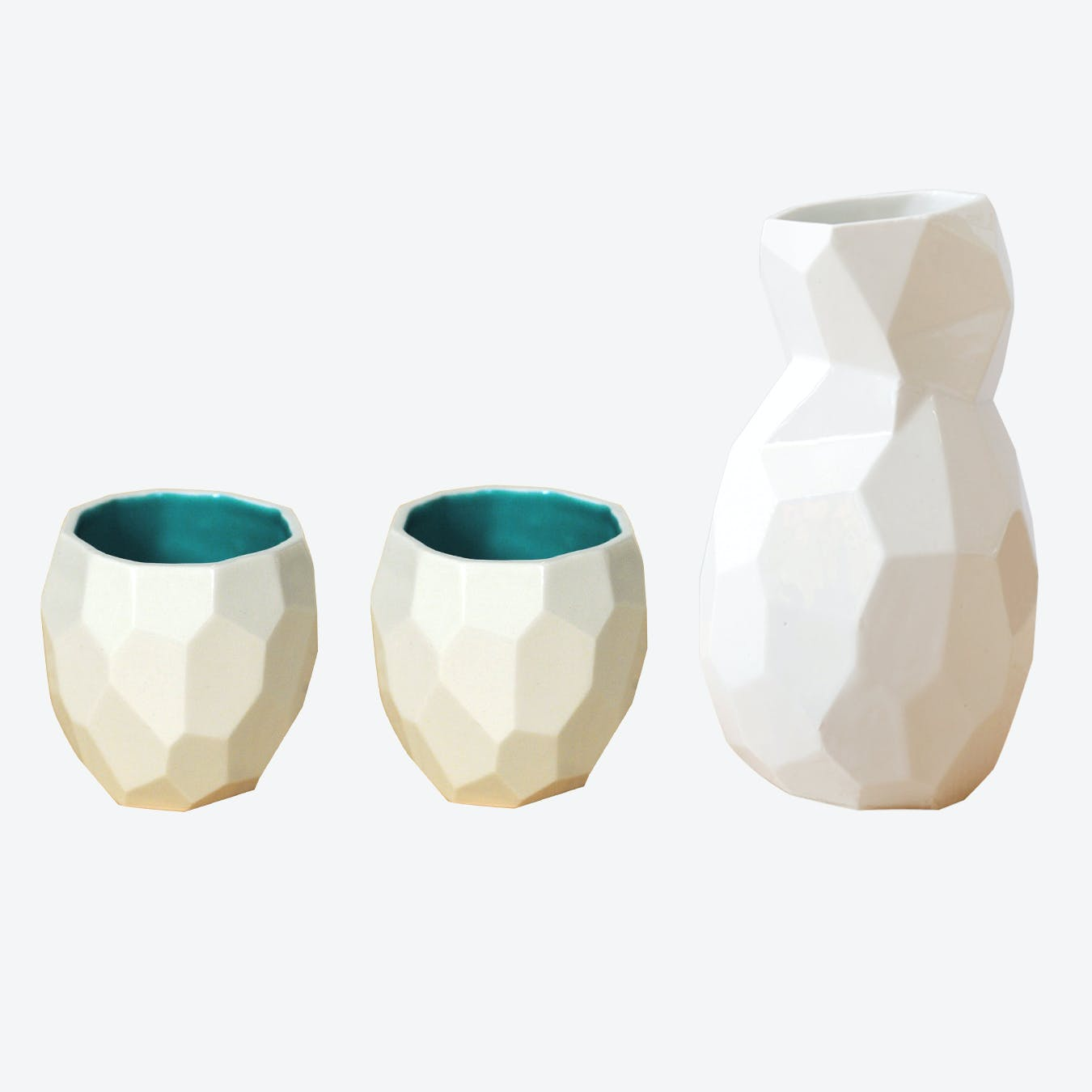 Emerald Green Poligon Sake Set