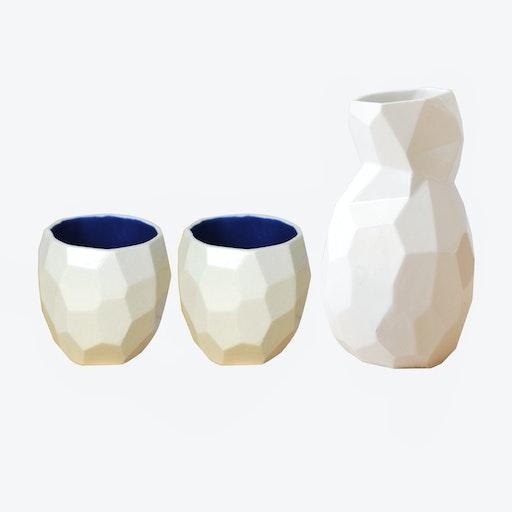 Cobalt Blue Poligon Sake Set
