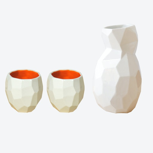 Bright Orange Poligon Sake Set