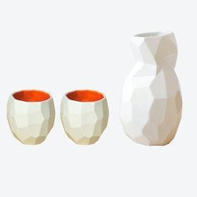 Bright Orange Poligon Sake Set