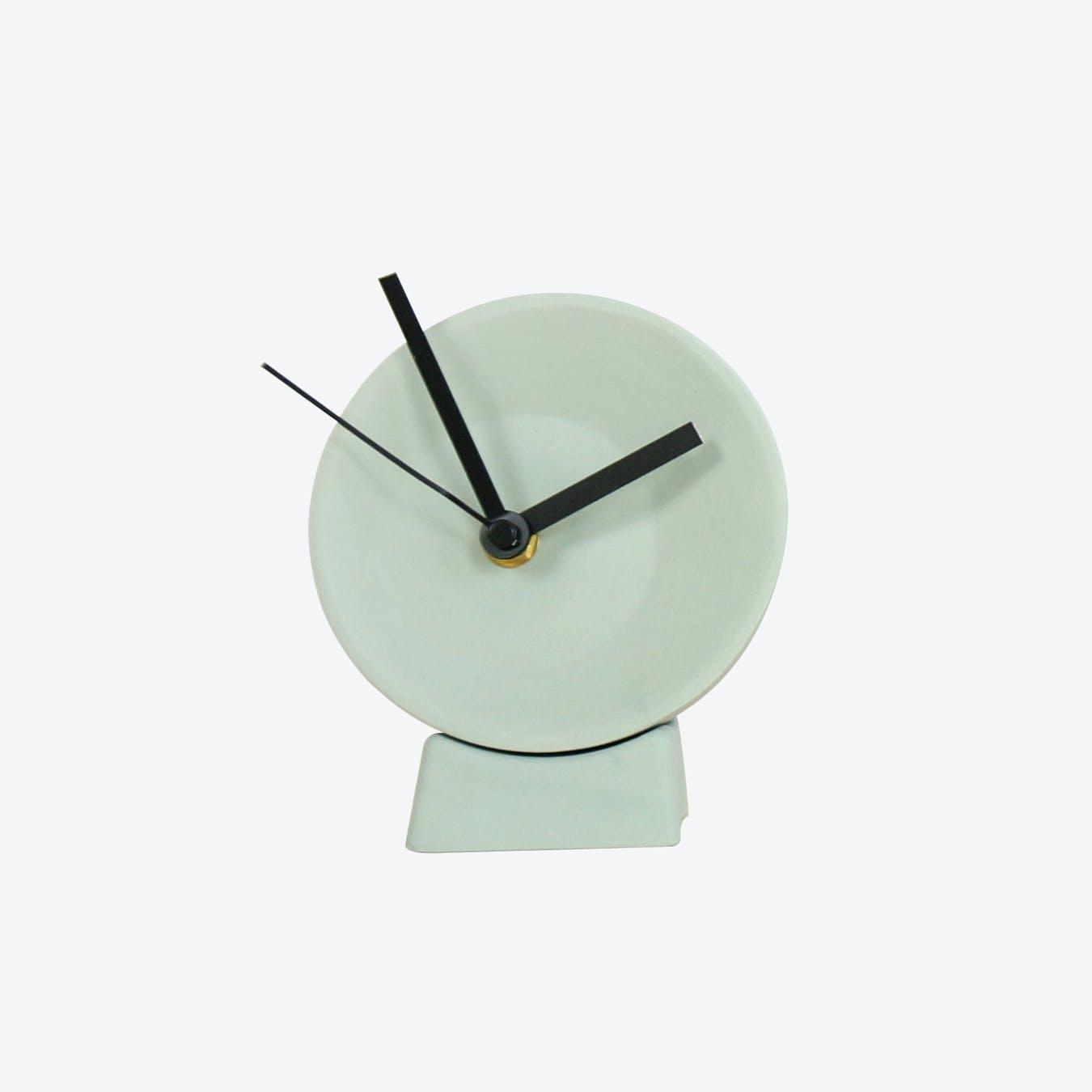 Grey Off Center Desk Clock