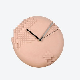 Pink Pixel Wall Clock
