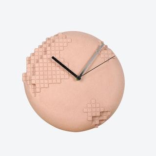 Pink Pixel Wall Clock