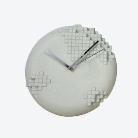Grey Pixel Wall Clock