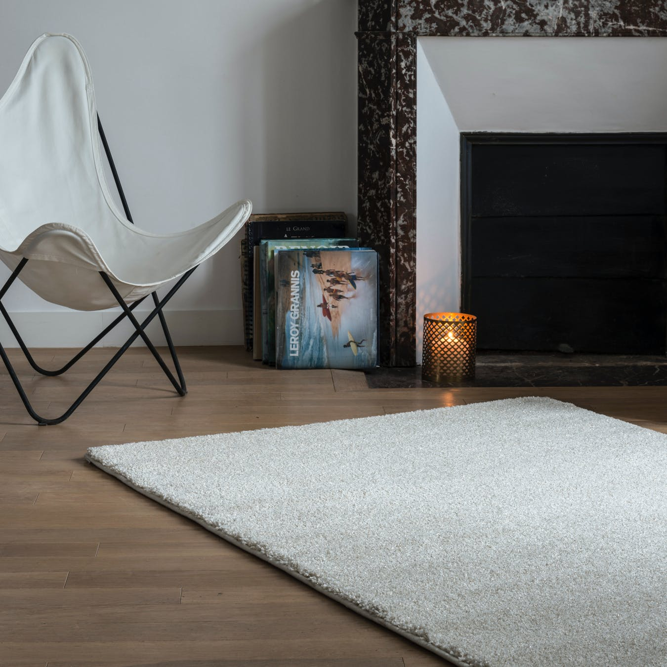 "Shiny Rug ""Sparkle"" in White (120x170 cm)"
