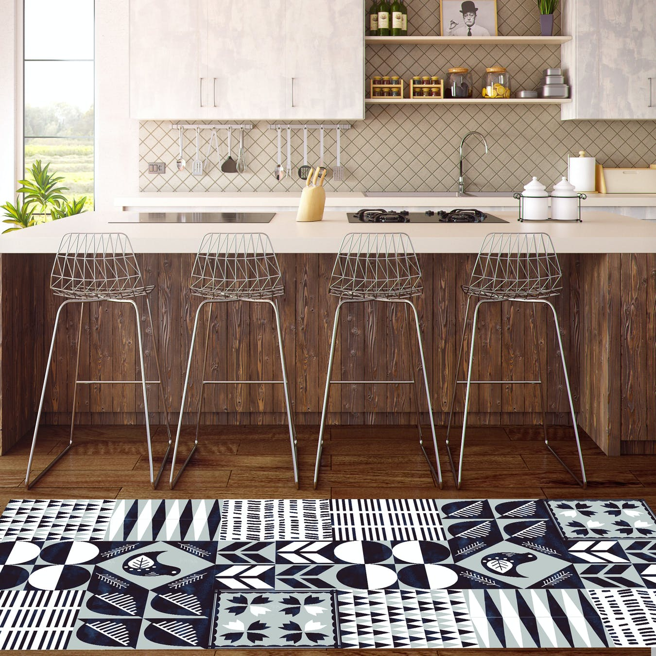 "Vinyl Runner ""Scandi Tiles"" (80x200cm)"