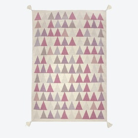 "Kilim Rug ""Triangles"" in Pink"