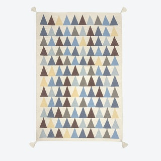"Kilim Rug ""Triangles"" in Blue"