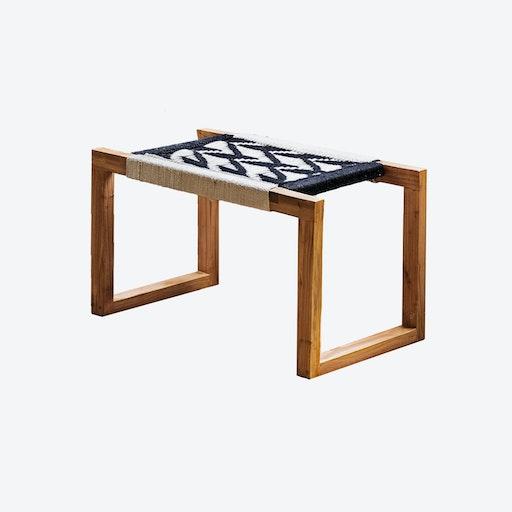 Black & White Braided Wooden Bench