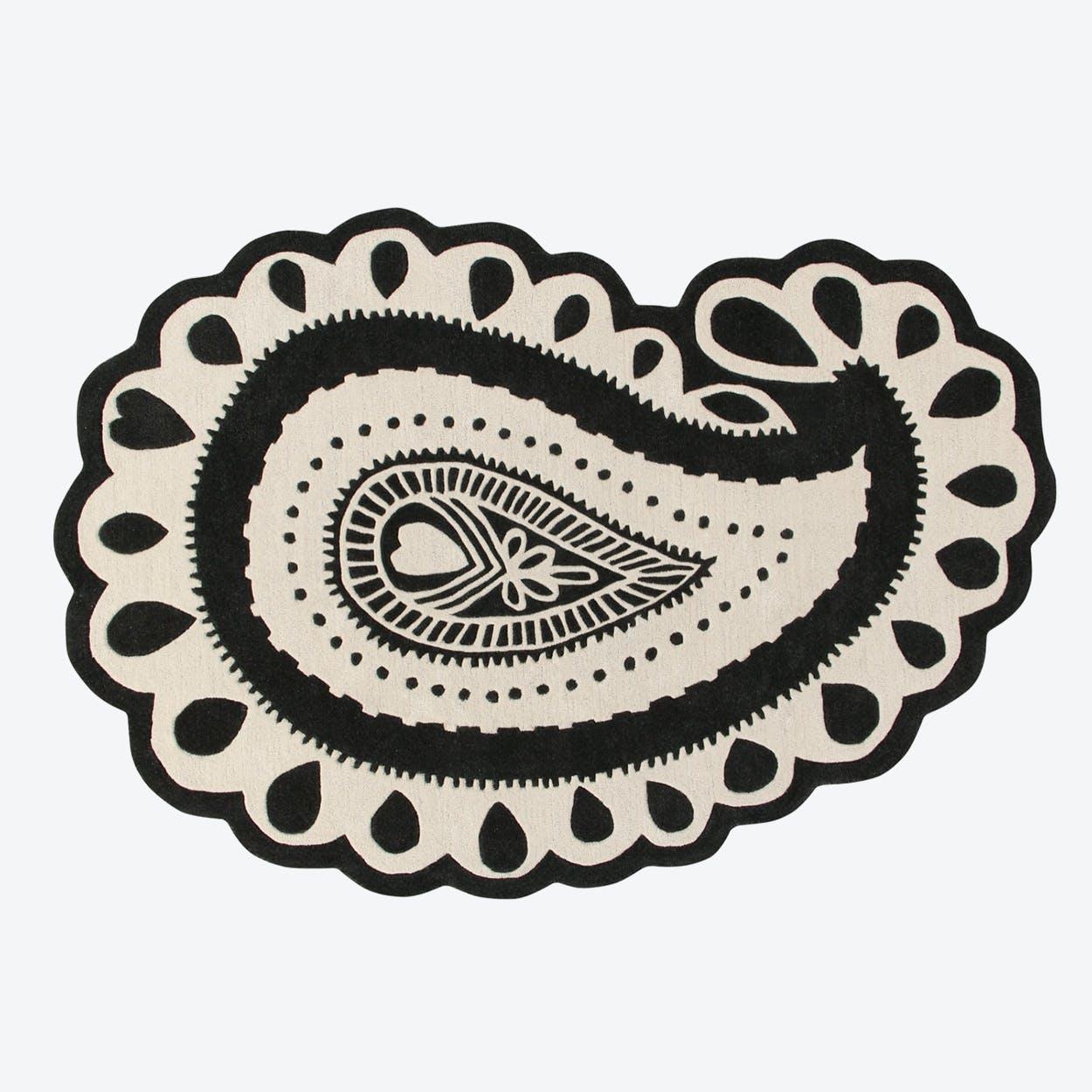 Wool Rug Gita Black & White