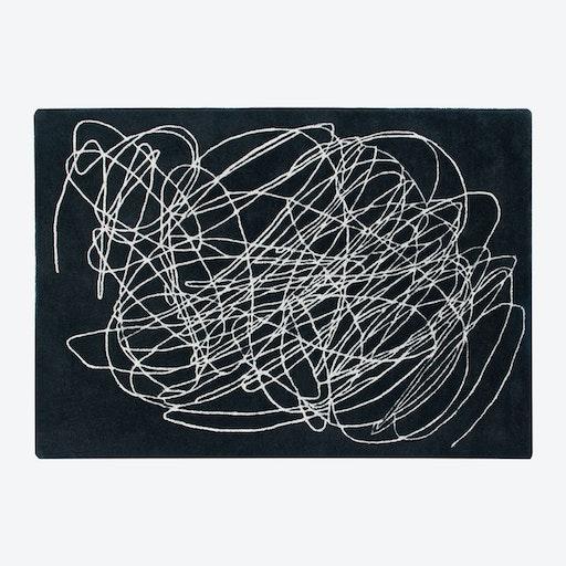 Wool Rug Scribble Black & White