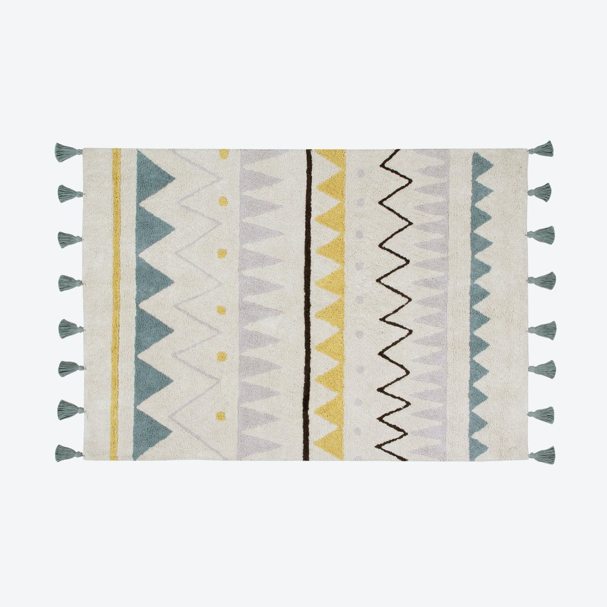 Washable Rug Azteca Natural-Vintage Blue