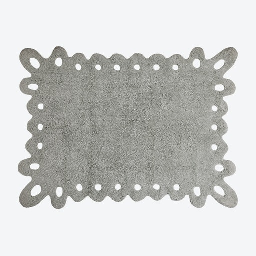 Washable Rug Puntilla Lace Grey