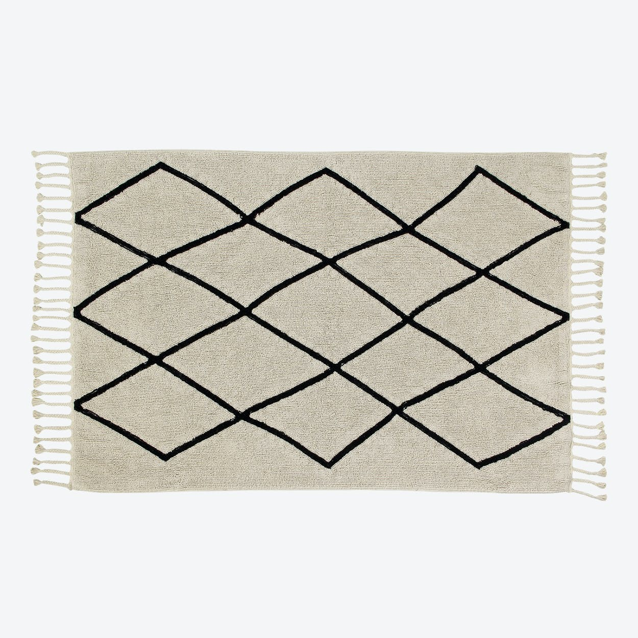 Washable Rug Black&White Bereber Beige