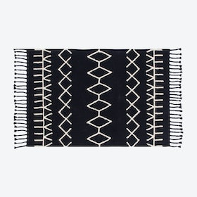 Washable Rug Black&White Bereber Black