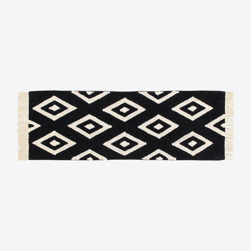 Washable Rug Black&White Diamonds Runner