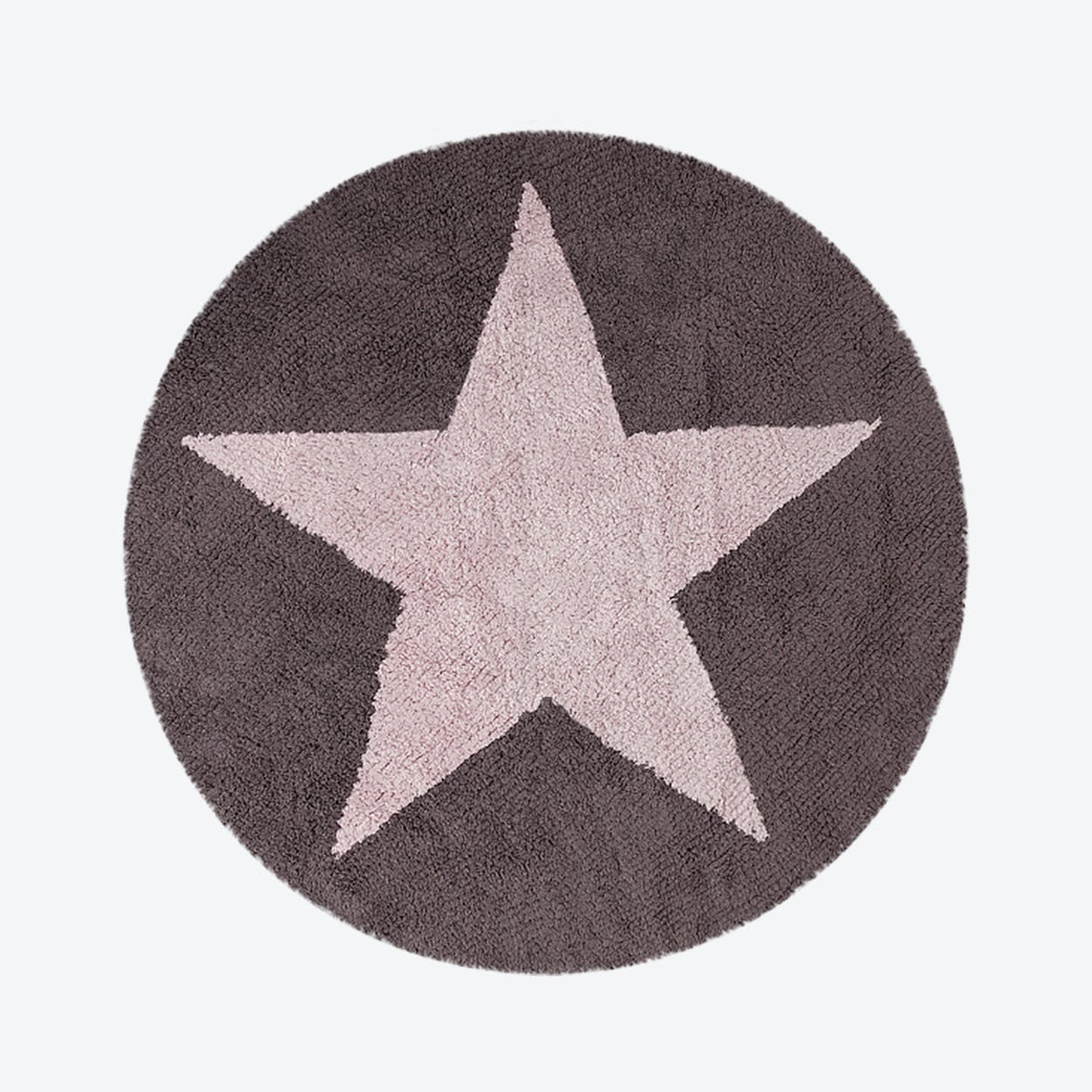 Washable Rug Reversible Star Pink-Dark Grey