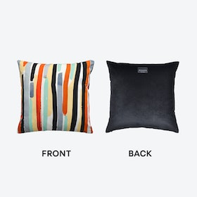 Paint Stripe Cushion (velvet) in Multi Col: Black / White /  Grey / Turquoise / Orange  / Yellow