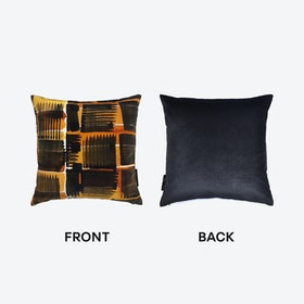 Abstract Check Cushion in Black / Ochre / White