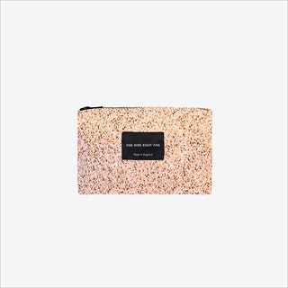 Small Pixel Pink Zip Pouch in Pink / White / Mushroom
