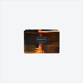 Small Abstract Check Zip Pouch in Black / Ochre / White