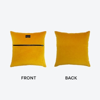 Zip Velvet Cushion in Ochre