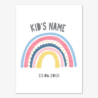 Rainbow Name And Date Pink