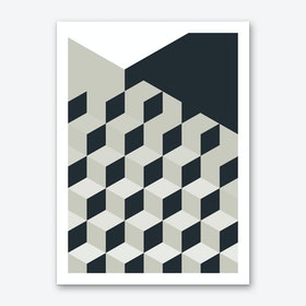 Black and White Cubes II Art Print