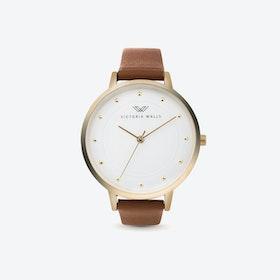 Gold Watch w/ White Face & Dark Brown Nappa Leather Strap