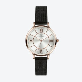 Rose Gold Watch w/ Silver Face & Black Milanese Mesh Bracelet