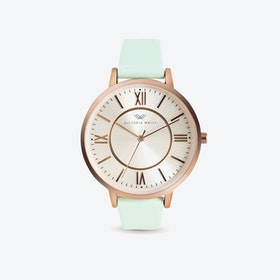 Rose Gold Watch w/ Pearl Face & Mint Nappa Leather Strap