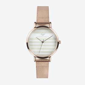 Rose Gold Watch w/ Striped Face & Rose Gold Milanese Mesh Bracelet