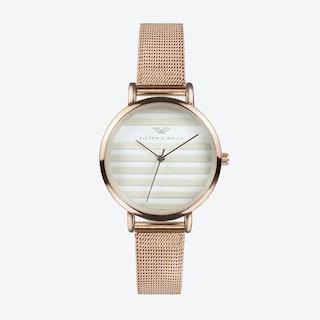 Rose Gold Watch w/ Striped Face & Rose Gold Milanese Mesh Bracelet