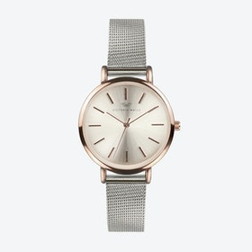 Rose Gold Watch w/ Light Gold Face & Silver Milanese Mesh Bracelet
