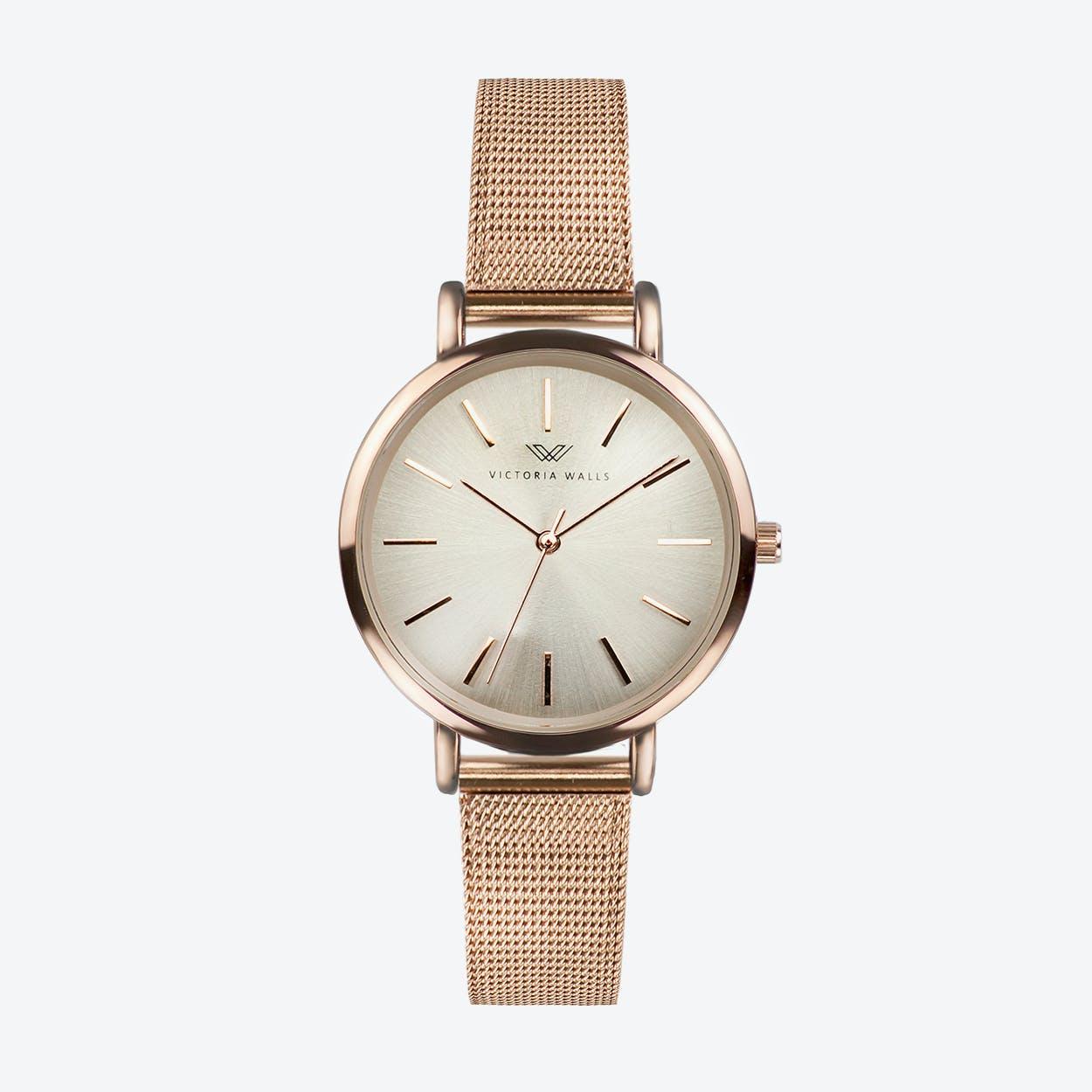 Rose Gold Watch w/ Light Gold Face & Rose Gold Milanese Mesh Bracelet