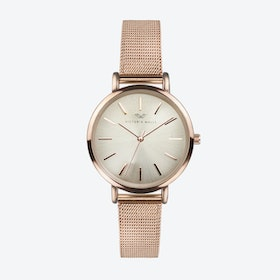 Rose Gold Watch w/ Light Gold Face & Rose Gold Milanese Mesh Bracelet