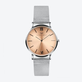 Silver Watch w/ Rose Gold Face & Silver Milanese Mesh Bracelet