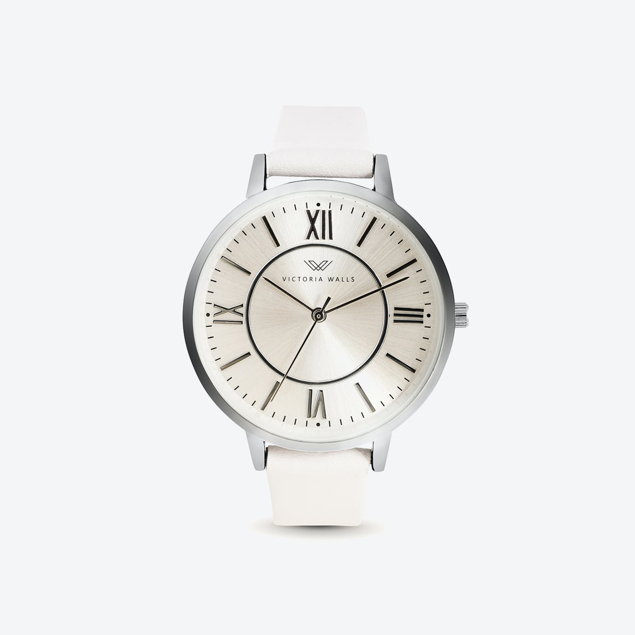 Silver Watch w/ Pearl Face & White Nappa Leather Strap