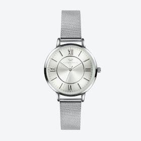 Silver Watch w/ Silver Face & Silver Milanese Mesh Bracelet