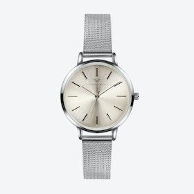 Silver Watch w/ Light Gold Face & Silver Milanese Mesh Bracelet