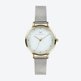 Gold Watch w/ White Face & Silver Milanese Mesh Bracelet