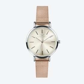 Silver Watch w/ Light Gold Face & Rose Gold Milanese Bracelet