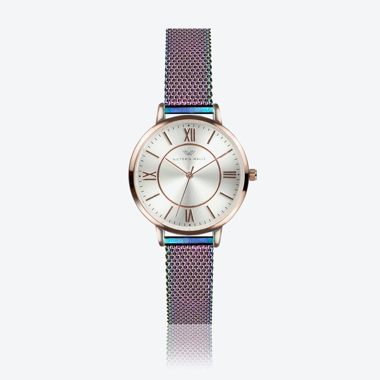 Rose Gold Watch w/ Pearl Face & Rainbow Milanese Mesh Bracelet