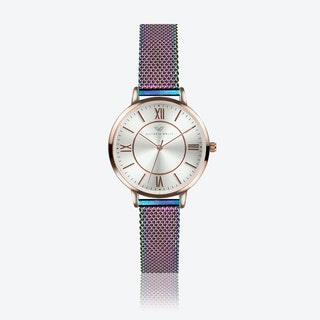 Rose Gold Watch w/ Pearl Face & Rainbow Milanese Mesh Bracelet