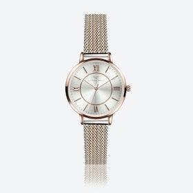 Rose Gold Watch w/ Silver Face & 2-Tone Milanese Mesh Bracelet