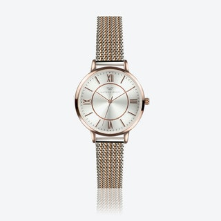Rose Gold Watch w/ Silver Face & 2-Tone Milanese Mesh Bracelet