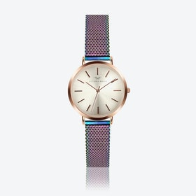 Rose Gold Watch w/ Light Gold Face & Rainbow Milanese Mesh Bracelet