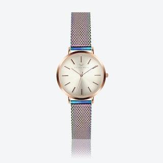 Rose Gold Watch w/ Light Gold Face & Rainbow Milanese Mesh Bracelet