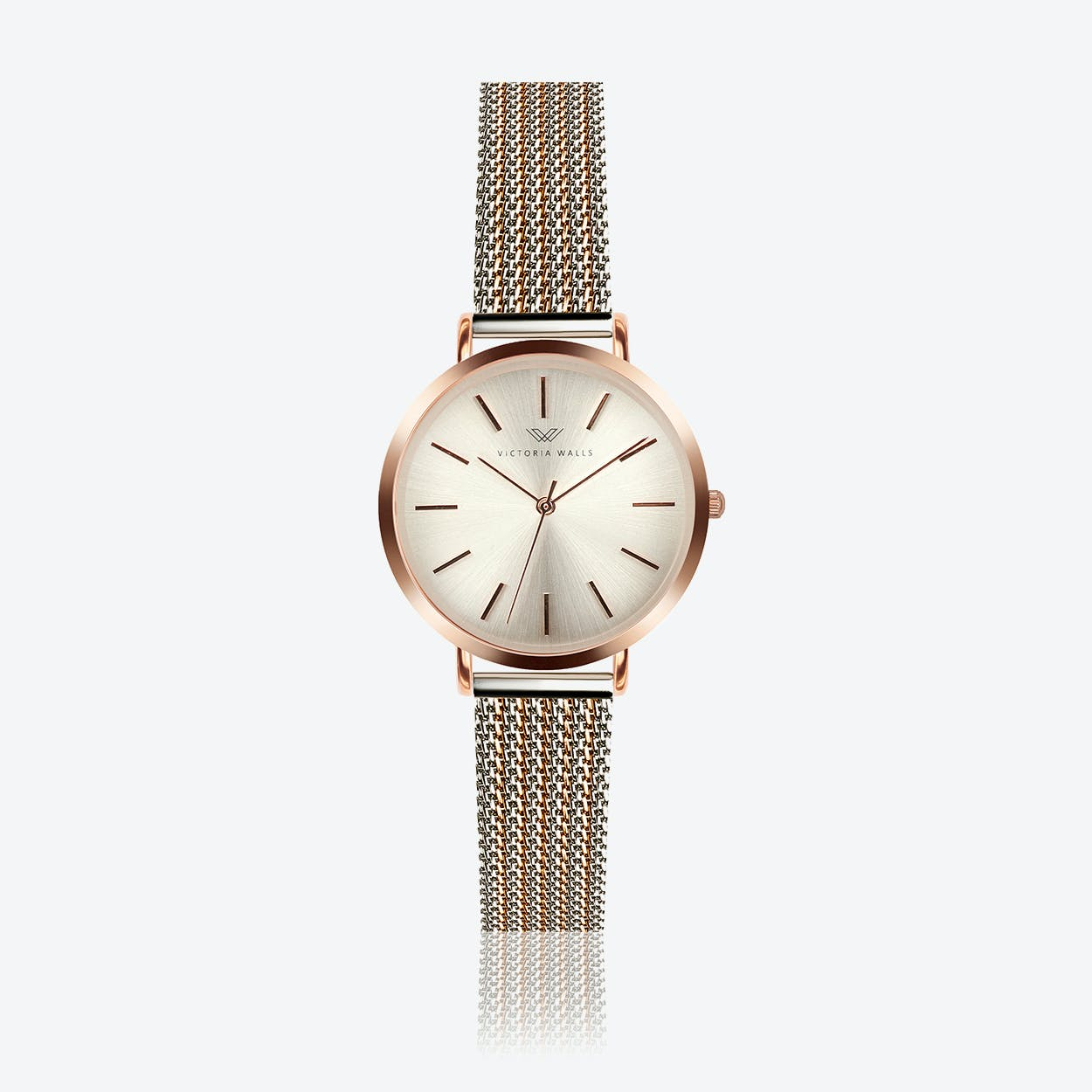 Rose Gold Watch w/ Light Gold Face & 2-Tone Milanese Mesh Bracelet