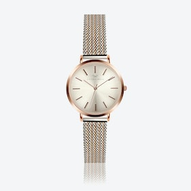Rose Gold Watch w/ Light Gold Face & 2-Tone Milanese Mesh Bracelet